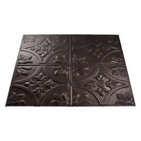 fasade smoked pewter faux tin 1516in drop ceiling tiles common