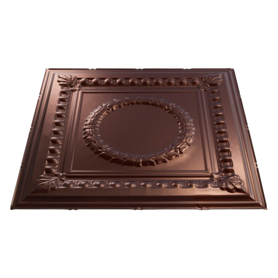 Fasade Oil-Rubbed Bronze Faux Tin 15/16-in Drop Ceiling Tiles (Common: 24-in x 24-in; Actual: 23.75-in x 23.75-in)