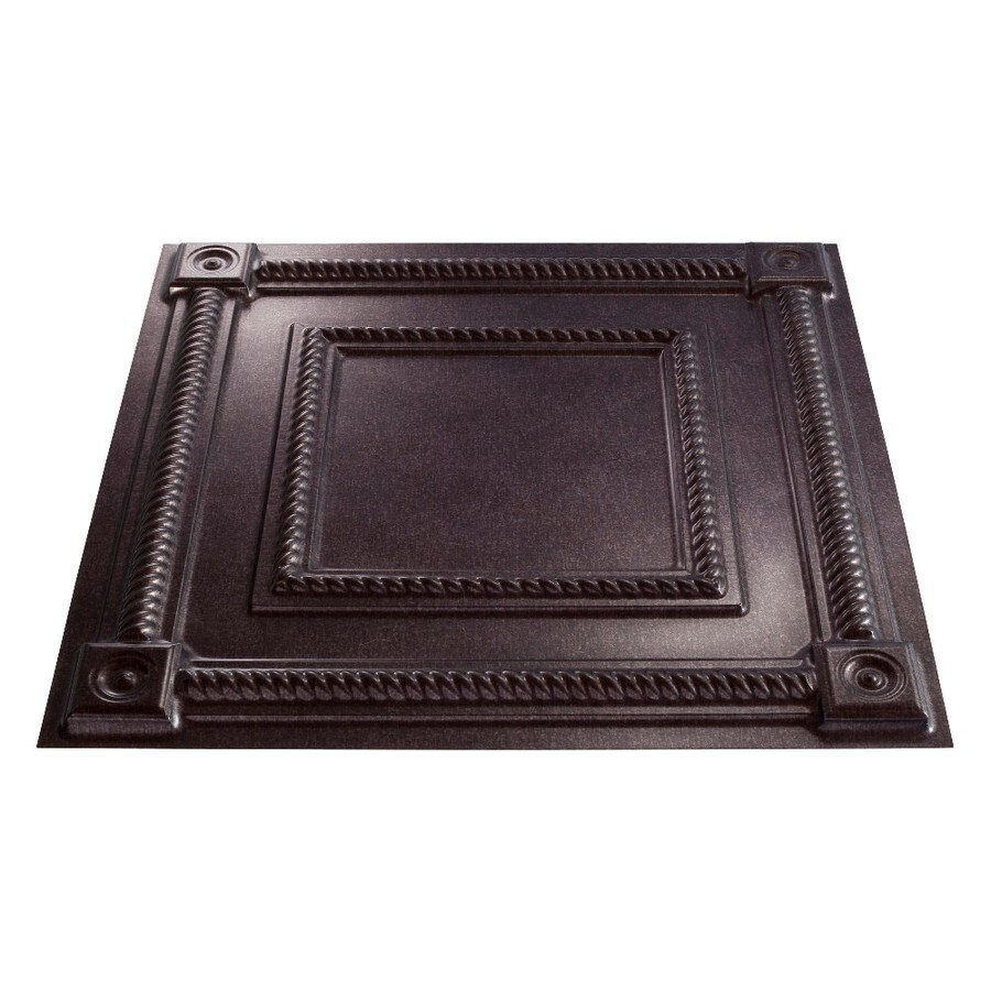 Fasade Smoked Pewter Faux Tin 15/16-in Drop Ceiling Tiles (Common: 24-in x 24-in; Actual: 23.75-in x 23.75-in)
