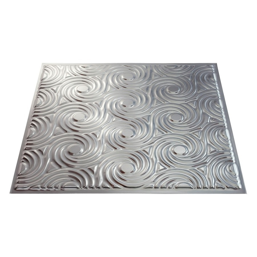 Fasade Brushed Aluminum Faux Tin 15/16-in Drop Ceiling Tiles (Common: 24-in x 24-in; Actual: 23.75-in x 23.75-in)
