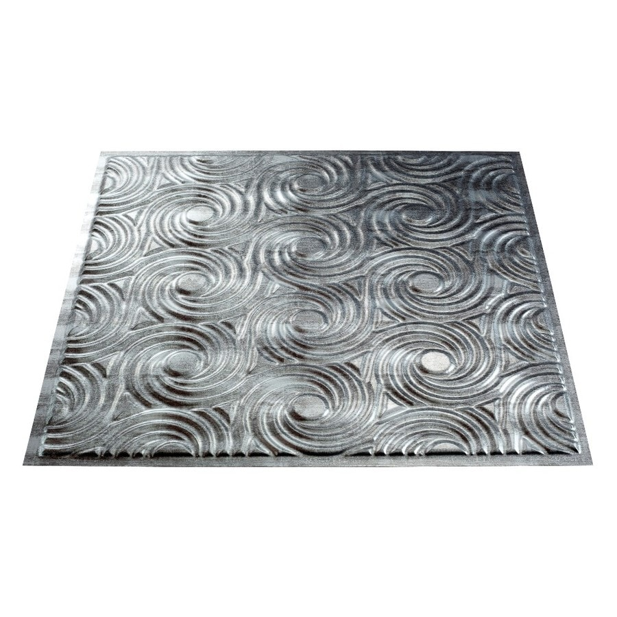 Fasade Crosshatch Silver Faux Tin 15/16-in Drop Ceiling Tiles (Common: 24-in x 24-in; Actual: 23.75-in x 23.75-in)