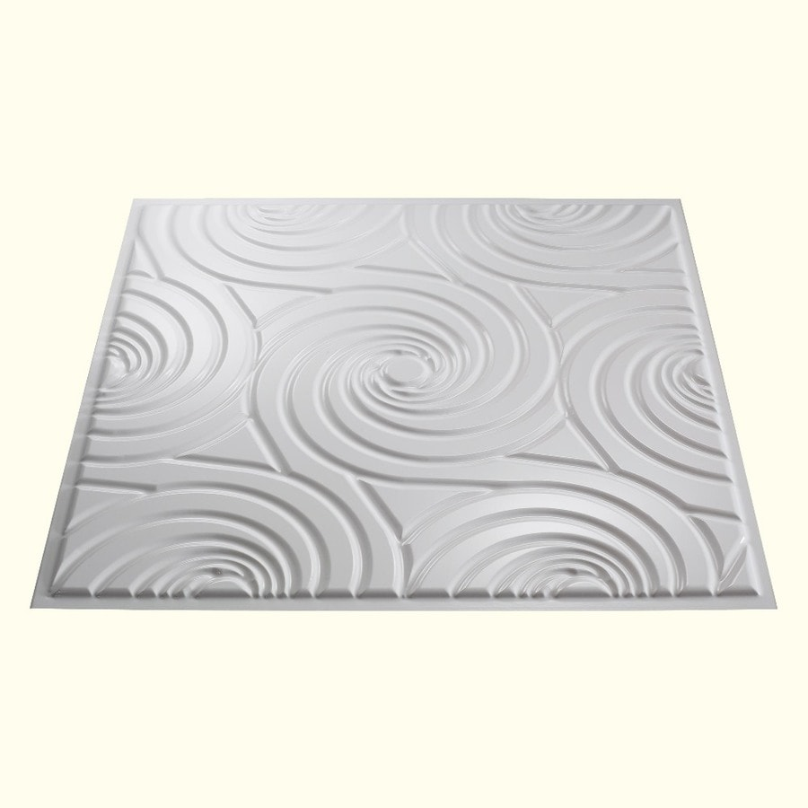Fasade Gloss White Faux Tin 15/16-in Drop Ceiling Tiles (Common: 24-in x 24-in; Actual: 23.75-in x 23.75-in)