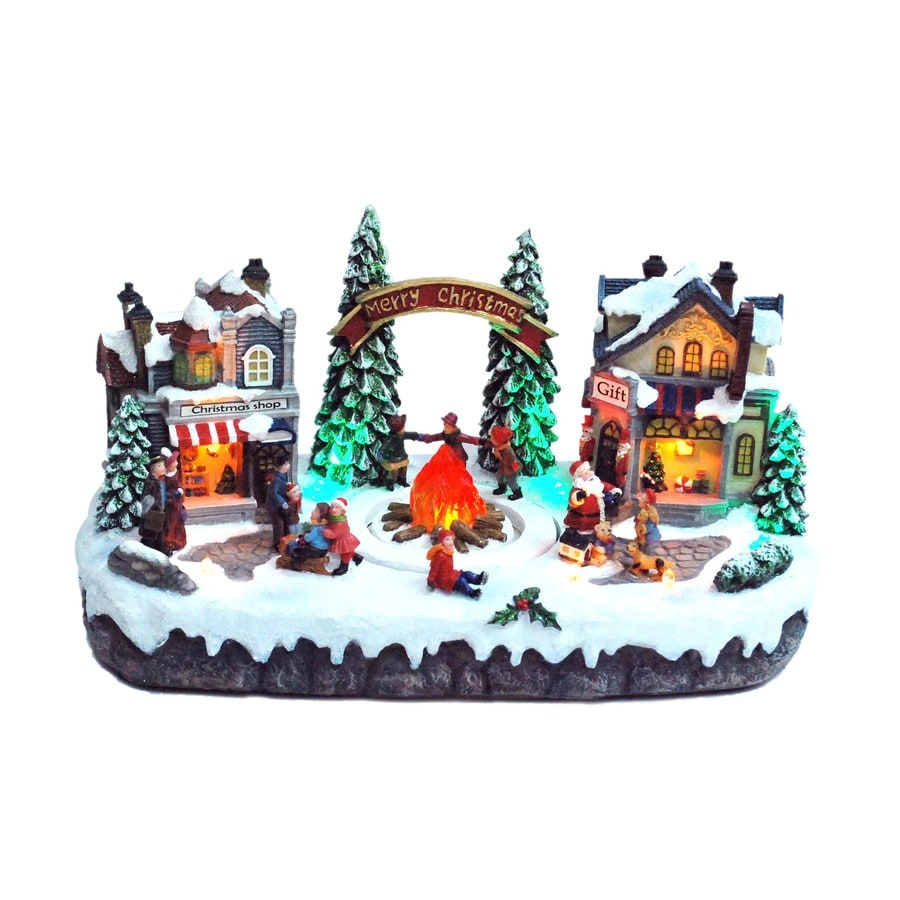 Holiday Living Christmas Resin Lighted Musical Village with Bonfire