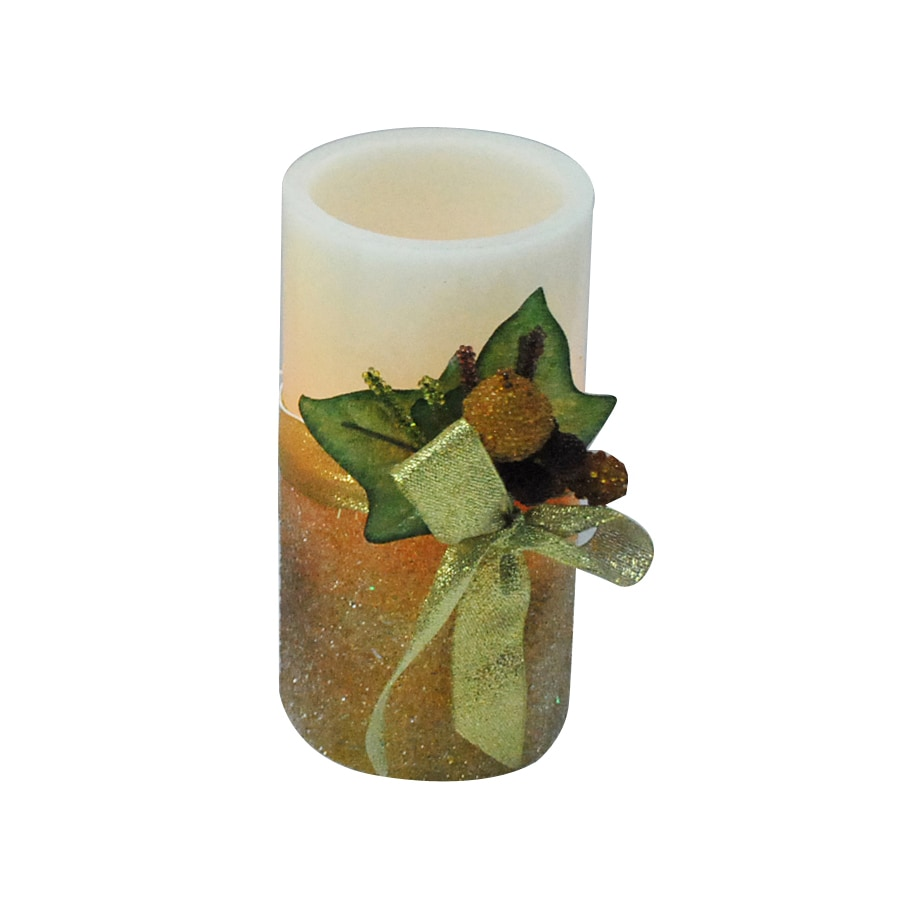 "Holiday Living 6"" Cordless Indoor Gold Glitter LED Pillar Candle"