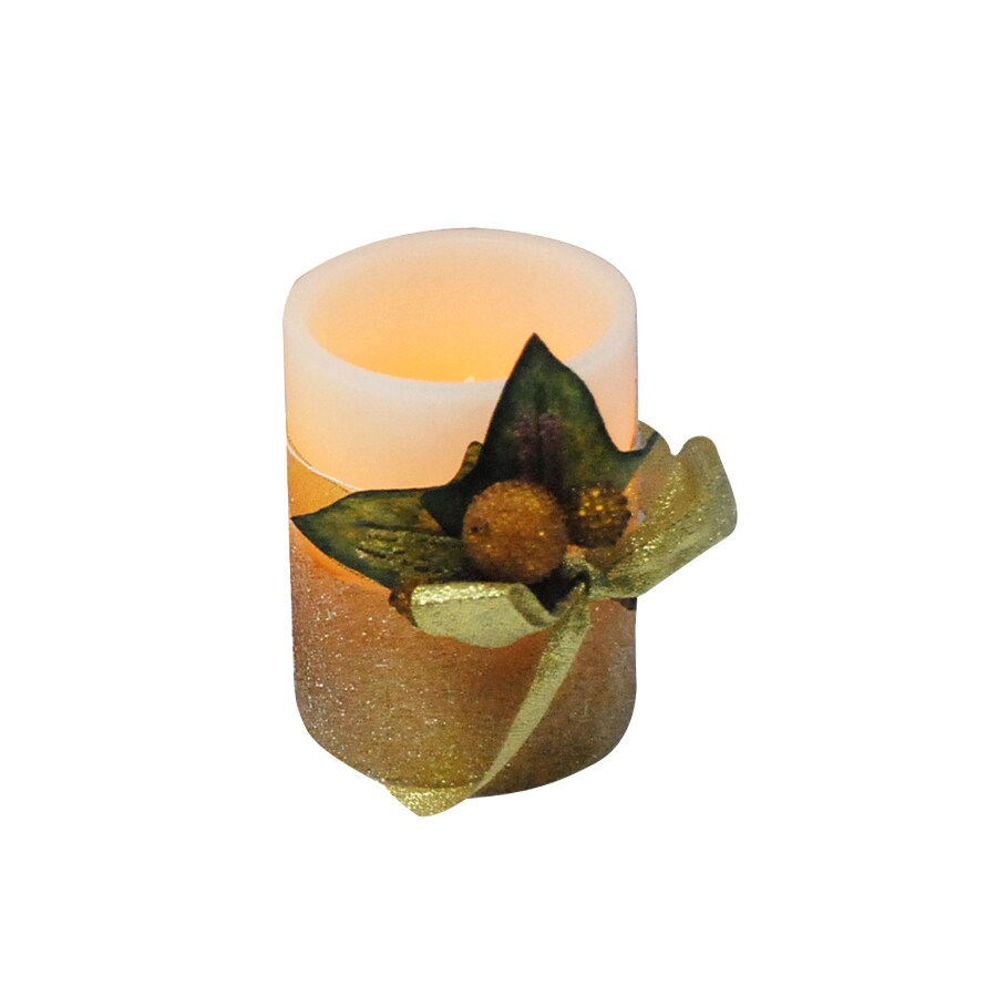 "Holiday Living 4"" Cordless Indoor Gold Glitter LED Pillar Candle"
