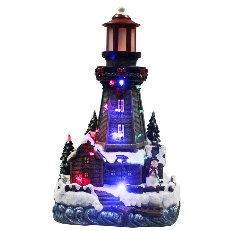 holiday living resin lighted musical polynesian lighthouse christmas collectible - Christmas Lighthouse Decorations