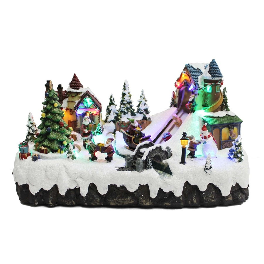 Holiday Living Resin Lighted Musical Animated Village Scene Christmas Collectible