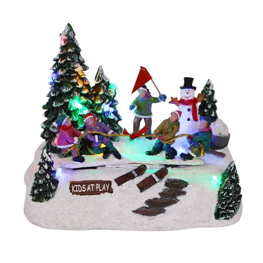 Carole Towne Kids At Play Animatronic Lighted Musical Village Scene
