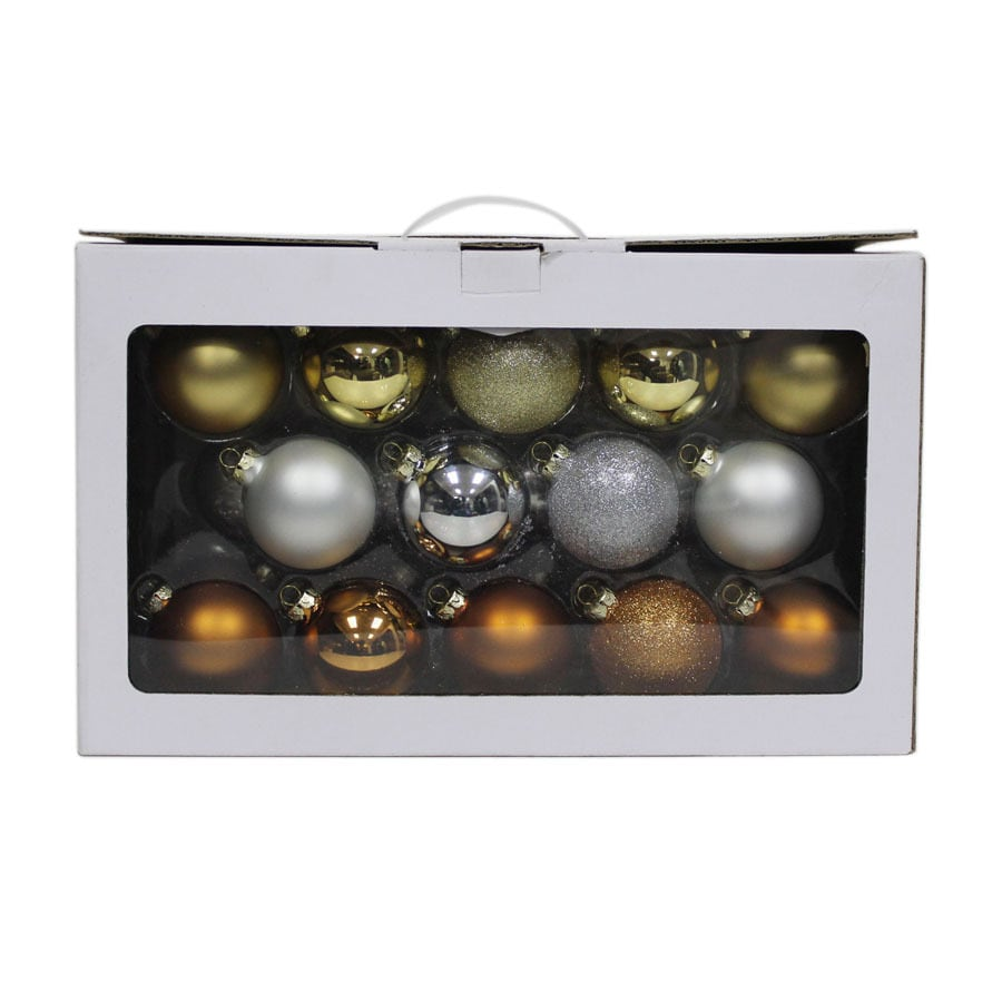 Holiday Living 28-Pack Multiple Colors Ball Ornament Set