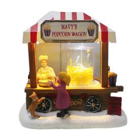 carole towne mavys popcorn wagon animatronic lighted village scene - Lowes Christmas Village