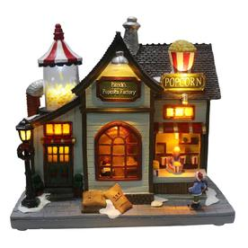 carole towne patricks popcorn factory animatronic lighted musical village scene - Lowes Christmas Village