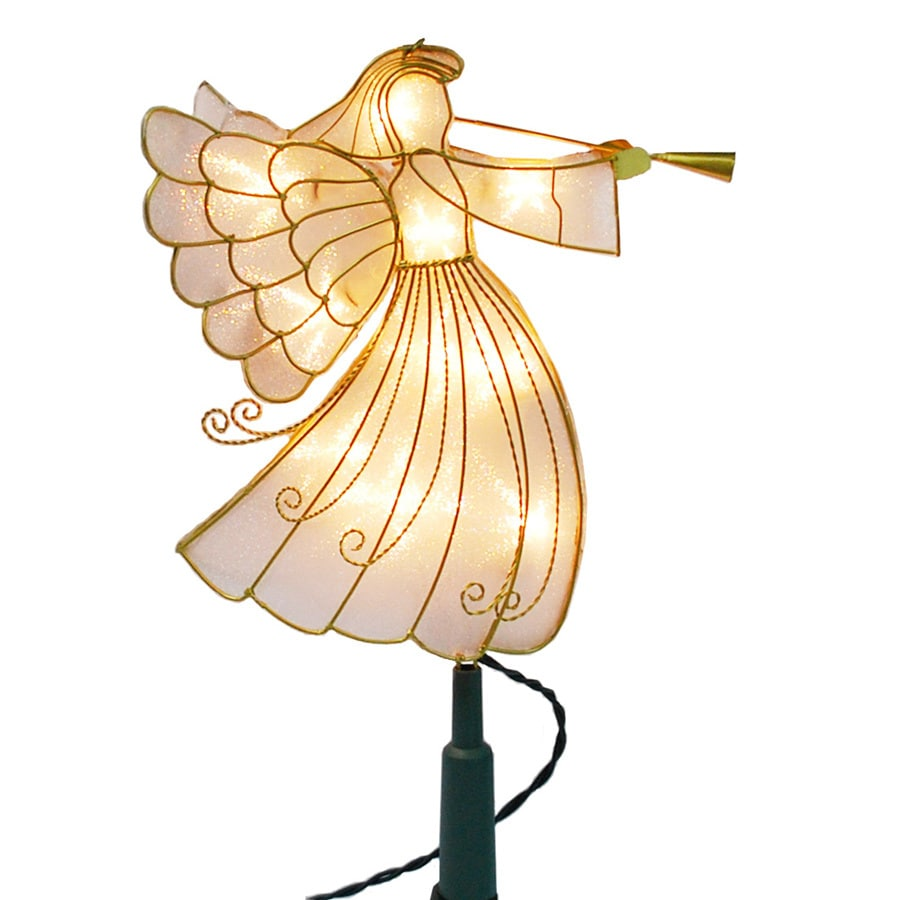Holiday Living 12.75-in -in Light Gold Lighted Metal Angel Christmas Tree Topper White Incandescent Lights