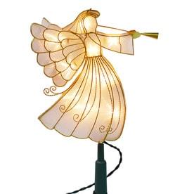 holiday living 11125in light gold prelit metal angel christmas tree topper white