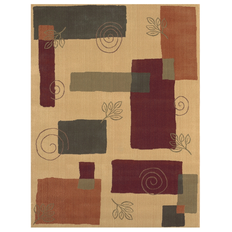 Shaw Living Pond 6-ft 5-in x 7-ft 8-in Rectangular Yellow Transitional Area Rug