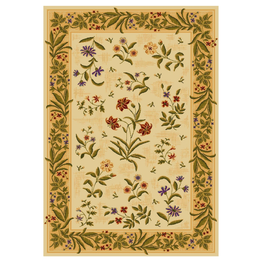 Shaw Living Summer Flowers 7-ft 9-in x 10-ft 11-in Rectangular Beige Floral Area Rug