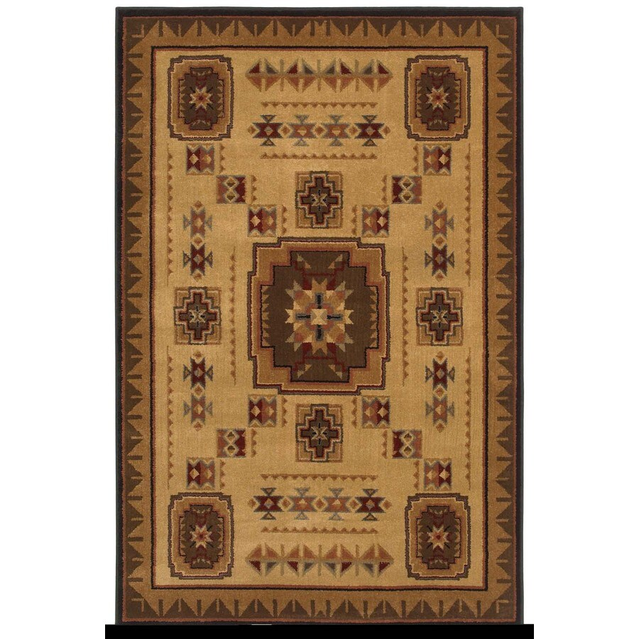Shaw Living Pueblo Rectangular Brown with Multicolor Border Area Rug (Common: 5-ft x 8-ft; Actual: 5-ft 3-in x 7-ft 10-in)