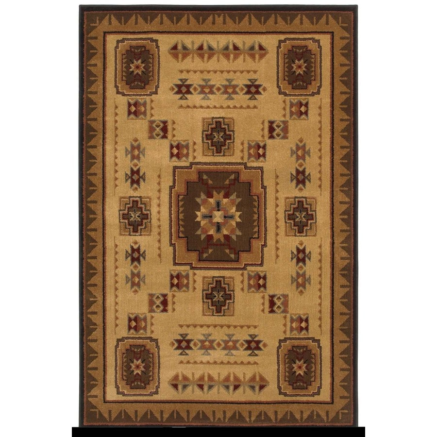 Shaw Living Pueblo 9-ft 2-in x 11-ft Rectangular Brown Border Area Rug