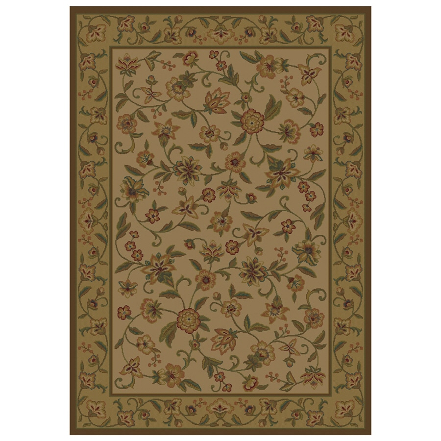 Shaw Living Alice 5-ft 3-in x 7-ft 10-in Rectangular Beige Floral Area Rug