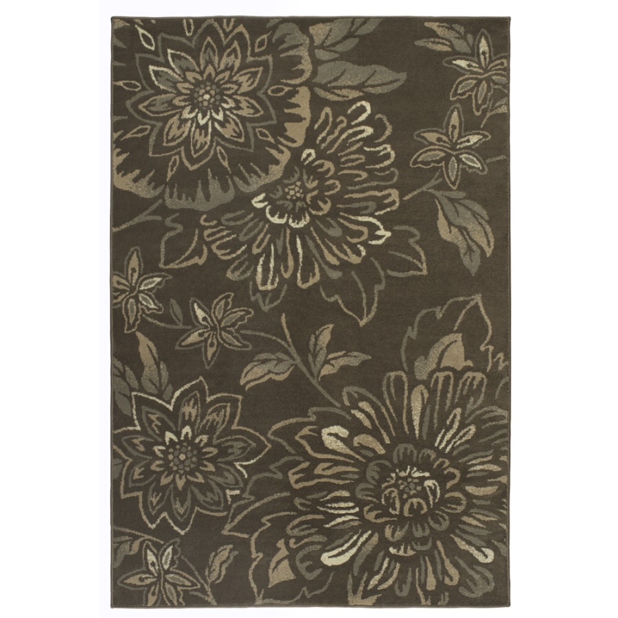 Shaw Living 7-ft 10-in x 10-ft 10-in Midnight Bloom Chocolate Area Rug