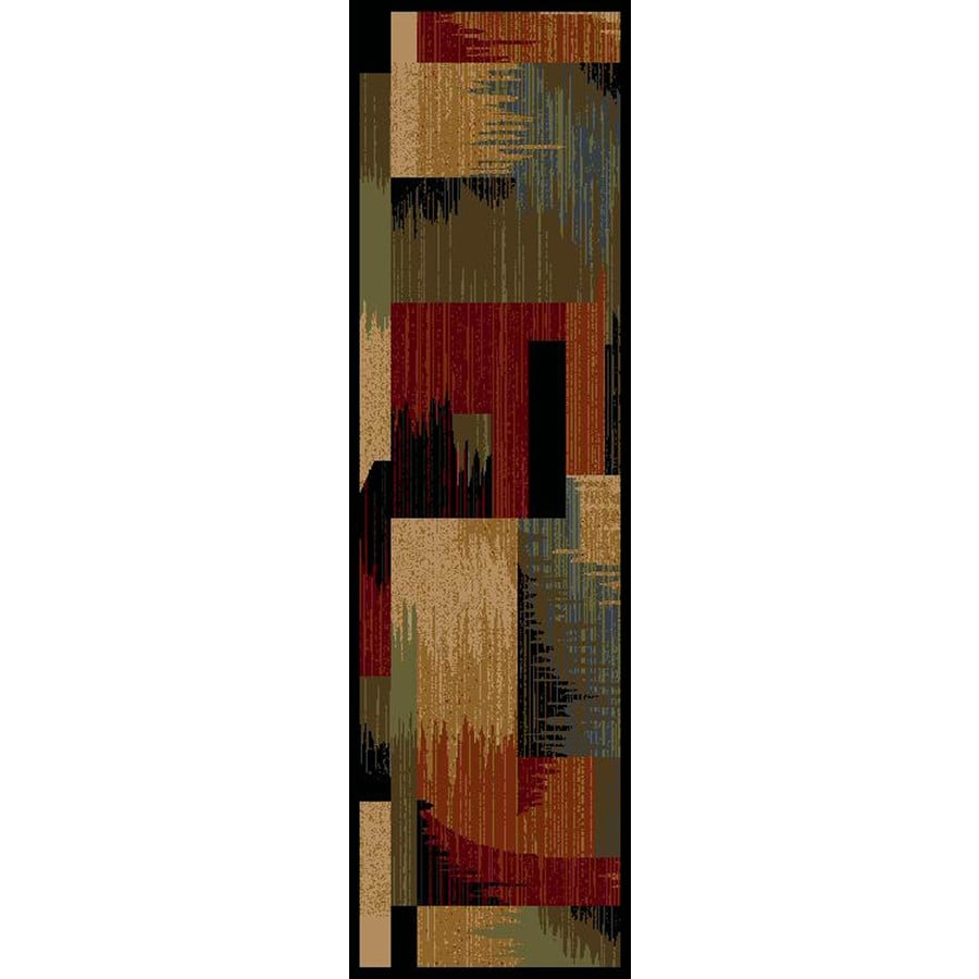 Shaw Living Wood Blocks 2-ft 3-in W x 7-ft 8-in L Multicolor Runner