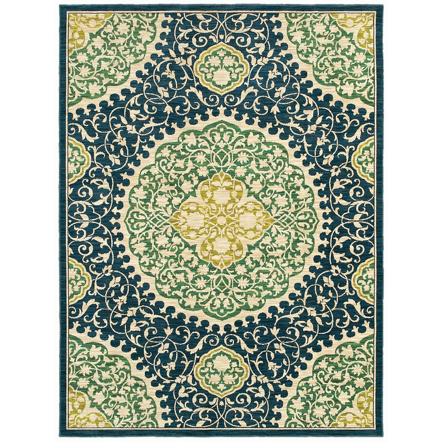 allen + roth Thorndale 5-ft x 7-ft 9-in Rectangular Blue Floral Area Rug