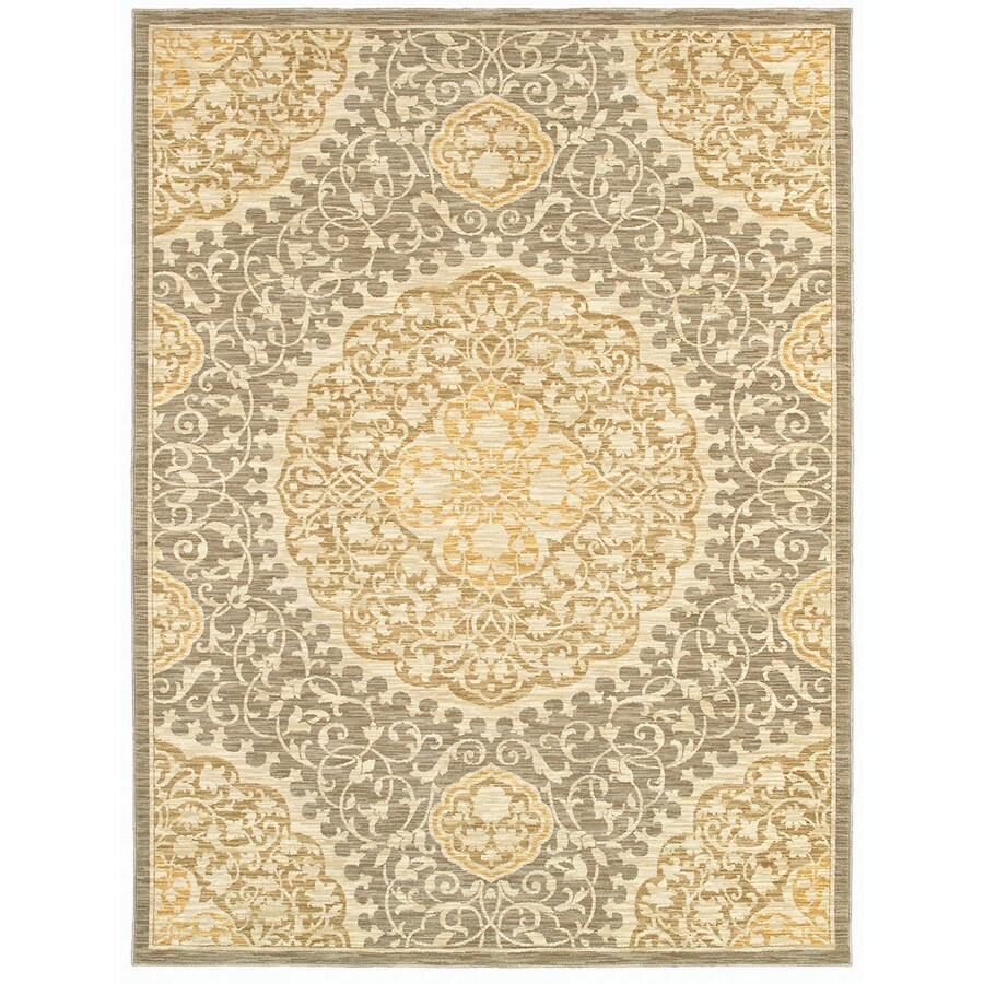 allen + roth Thorndale 5-ft x 7-ft 9-in Rectangular Gray Floral Area Rug