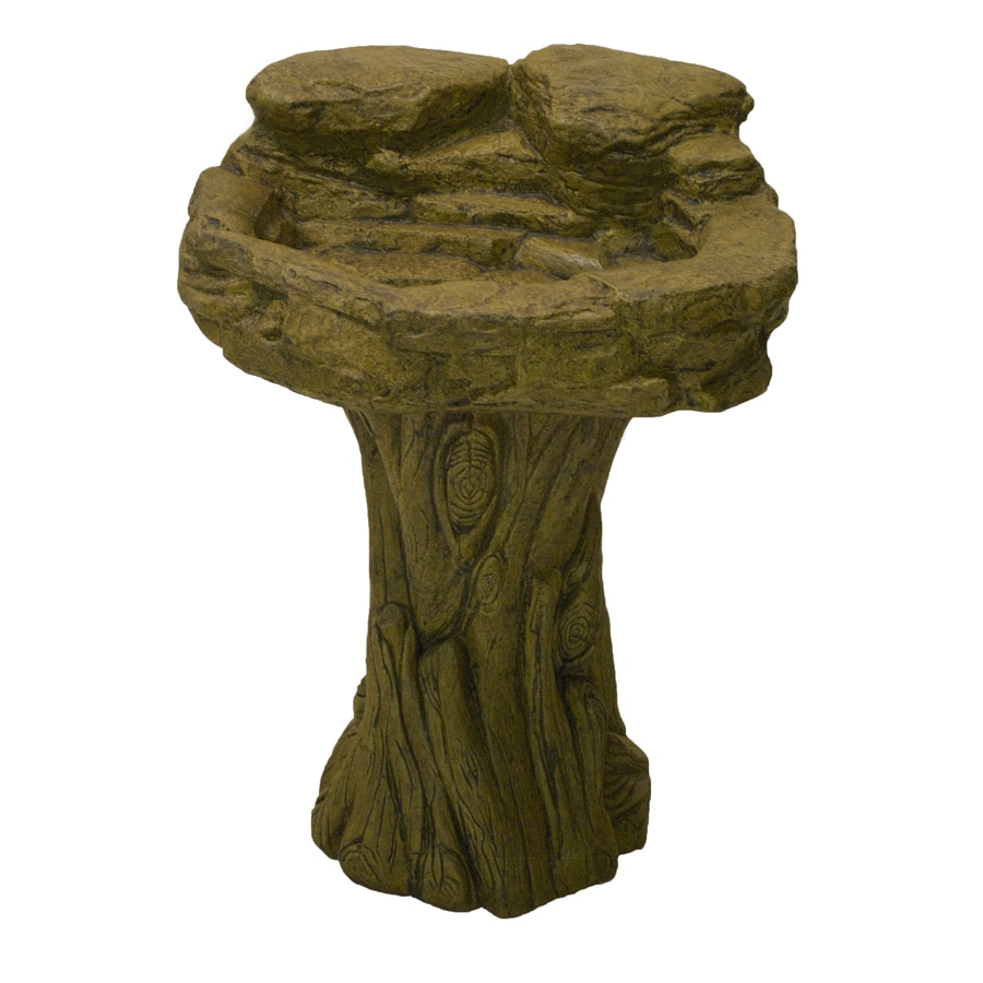 Rustic 1-Tier Outdoor Birdbath