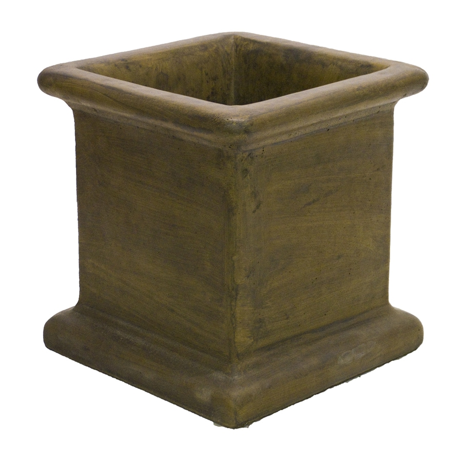 Shop 14-in x 14-in Espresso Concrete Planter at Lowes.com