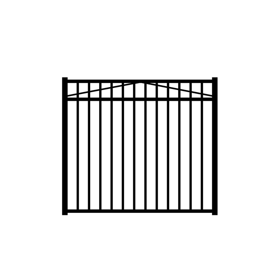 Jerith (Common: 4.5-ft x 5-ft; Actual: 4.5-ft x 5-ft) Madrid Black Aluminum Decorative Fence Gate