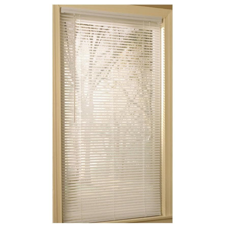 Project Source 1 In White Vinyl Light Filtering Mini Blinds Common