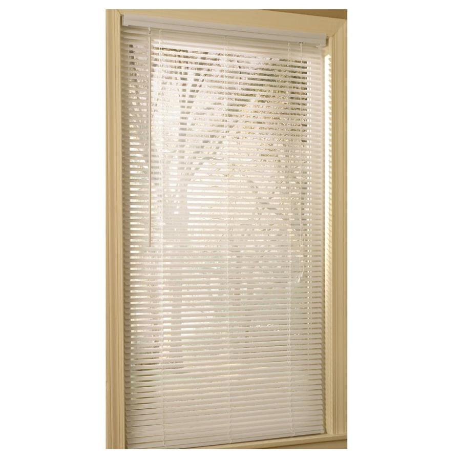 Project Source 1-in White Vinyl Light Filtering Mini-Blinds (Common 45-in; Actual: 44.5-in x 64-in)