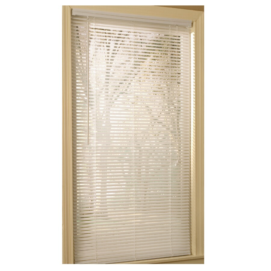 Project Source 1-in White Vinyl Light Filtering Mini-Blinds (Common 35-in; Actual: 34.5-in x 75-in)