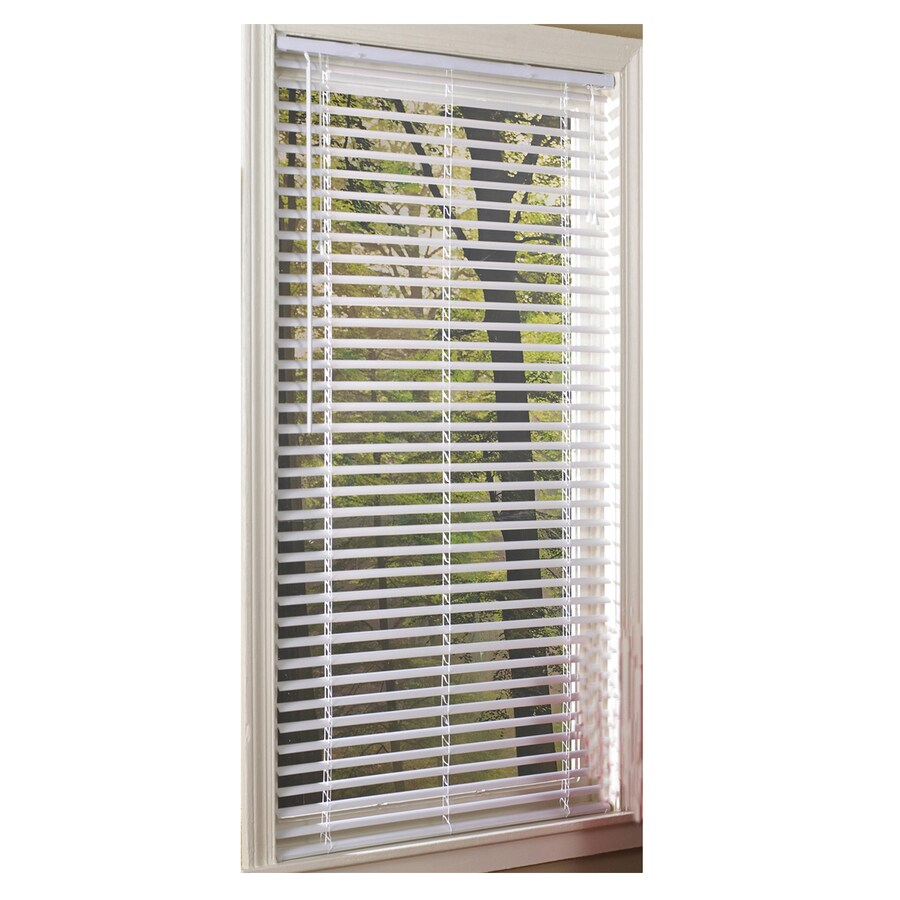 Project Source 1-in White Vinyl Room Darkening Mini-Blinds (Common 46-in; Actual: 45.5-in x 64-in)