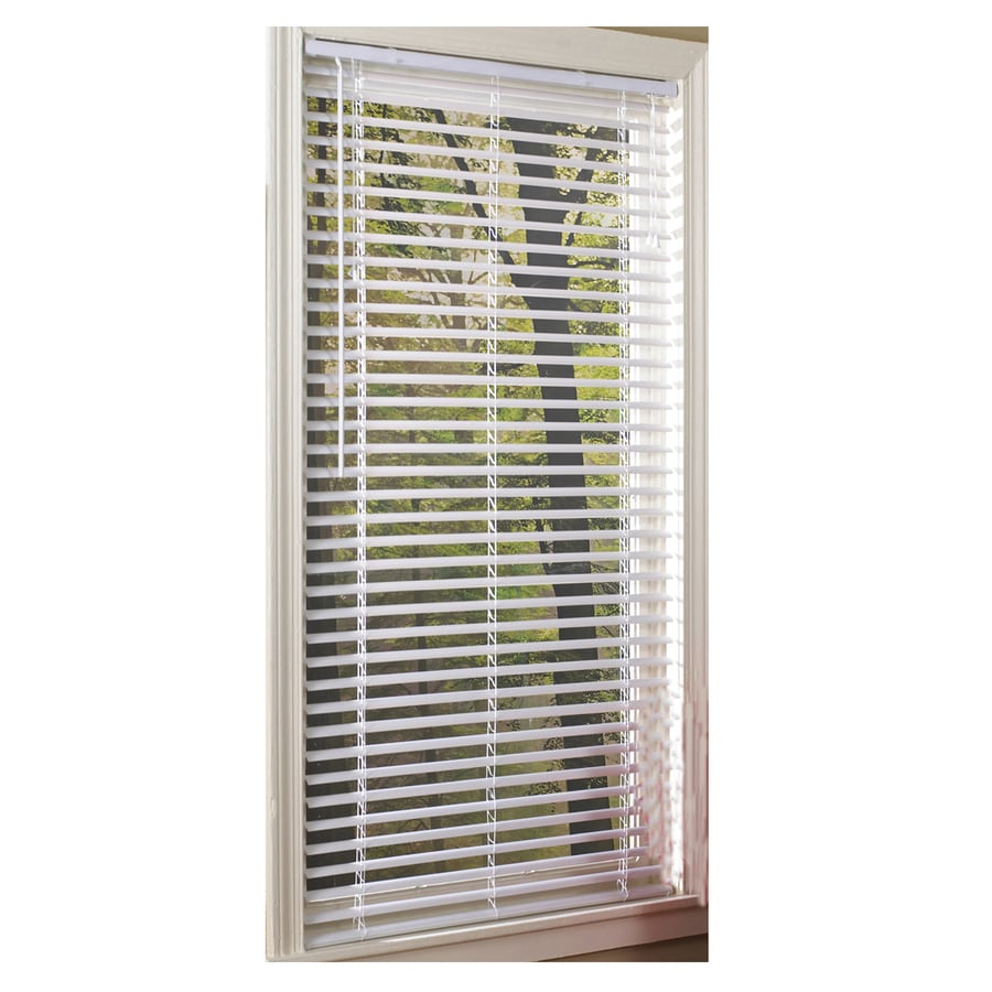 Project Source 1-in White Vinyl Room Darkening Mini-Blinds (Common: 58-in; Actual: 57.5-in x 64-in)