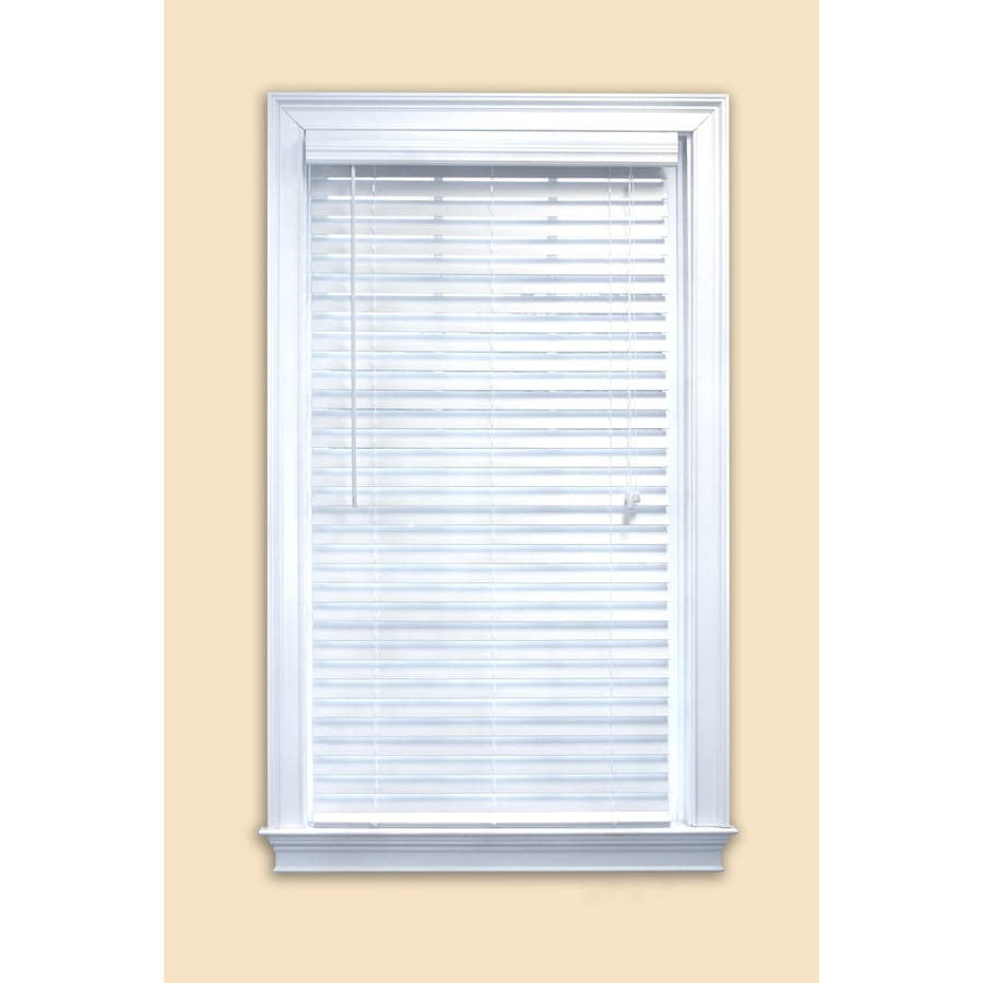 Style Selections 20-in W x 36-in L White Faux Wood Plantation Blinds