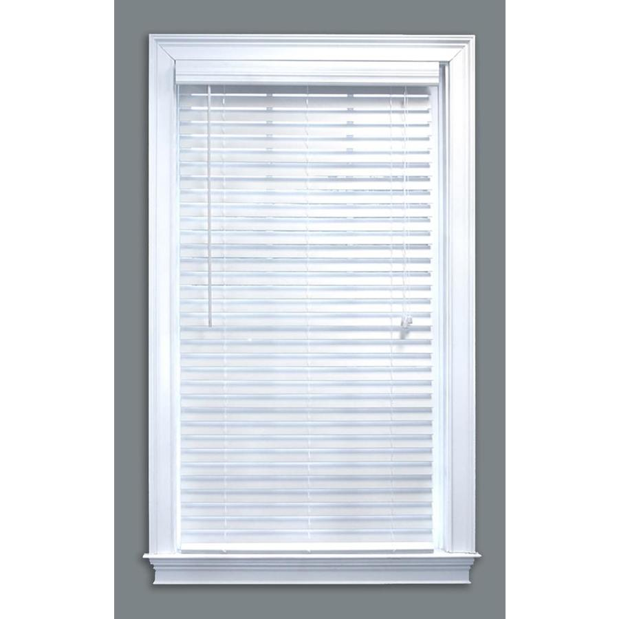 Style Selections 2-in White Faux Wood Room Darkening Plantation Blinds (Common: 33-in x 84-in; Actual: 33-in x 84-in)