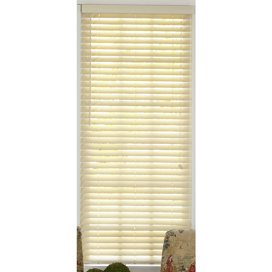 Style Selections 62.5-in W x 48-in L Alabaster Faux Wood Plantation Blinds