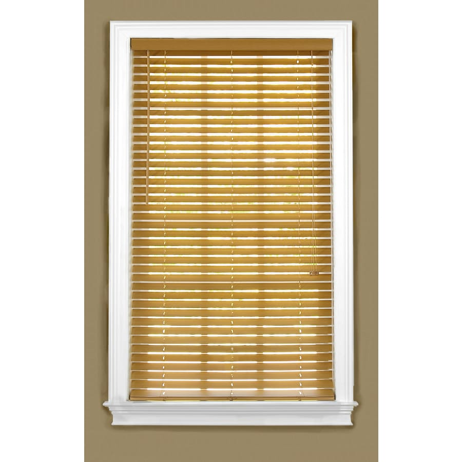 Style Selections 26-in W x 48-in L Light Oak Faux Wood Plantation Blinds
