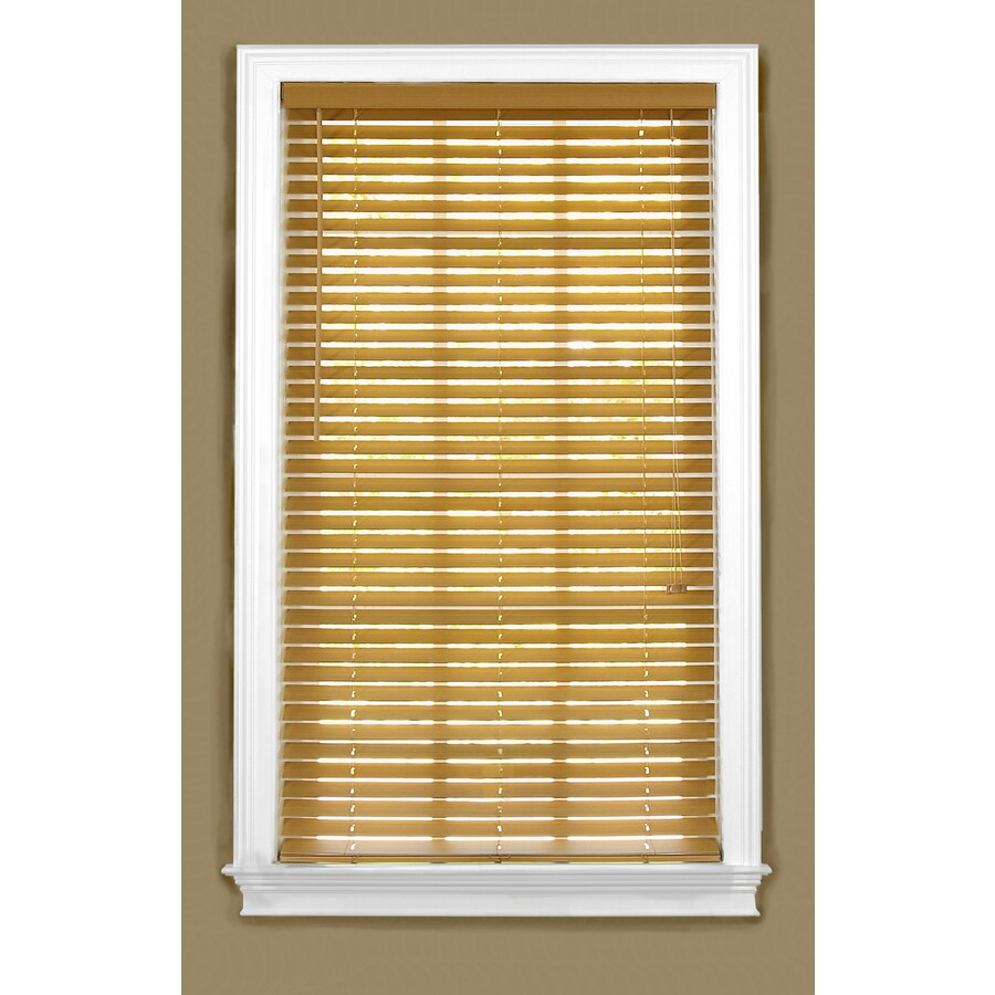 Style Selections 22-in W x 64-in L Light Oak Faux Wood Plantation Blinds