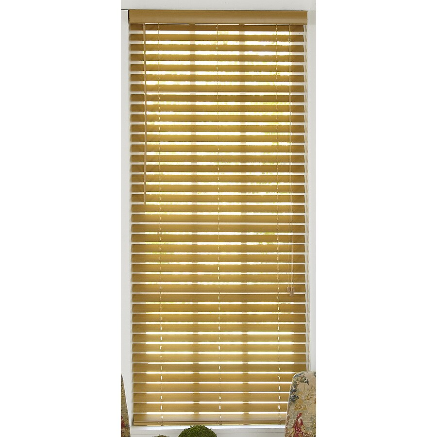 Style Selections 65-in W x 64-in L Light Oak Faux Wood Plantation Blinds