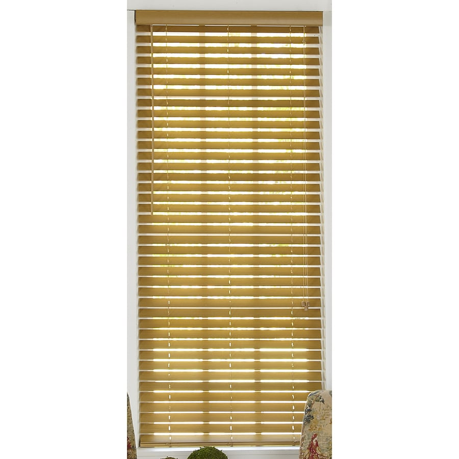 Style Selections 67-in W x 64-in L Light Oak Faux Wood Plantation Blinds