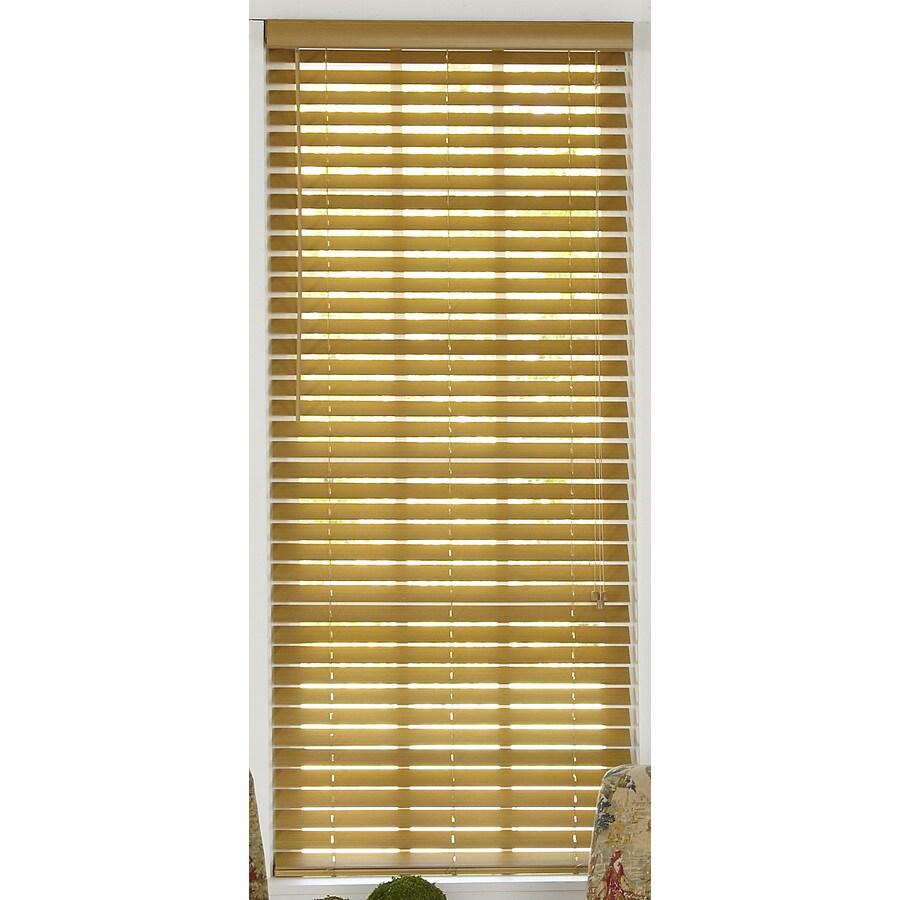 Style Selections 63-in W x 72-in L Light Oak Faux Wood Plantation Blinds
