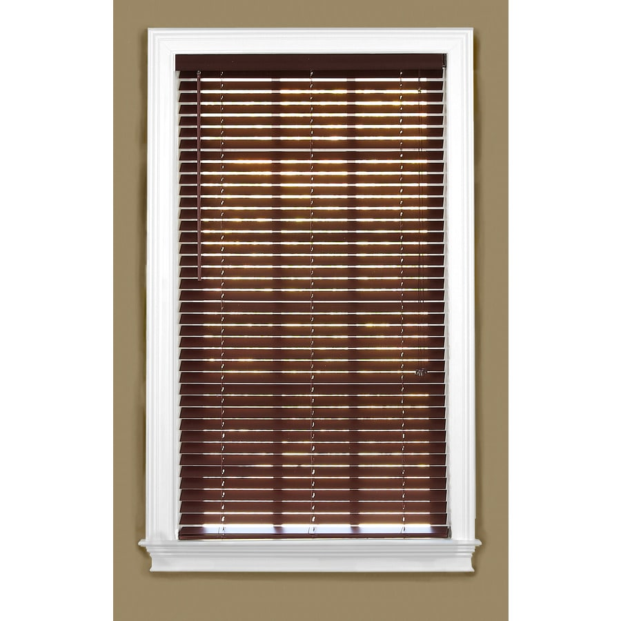 Style Selections 36.5-in W x 64-in L Mahogany Faux Wood Plantation Blinds