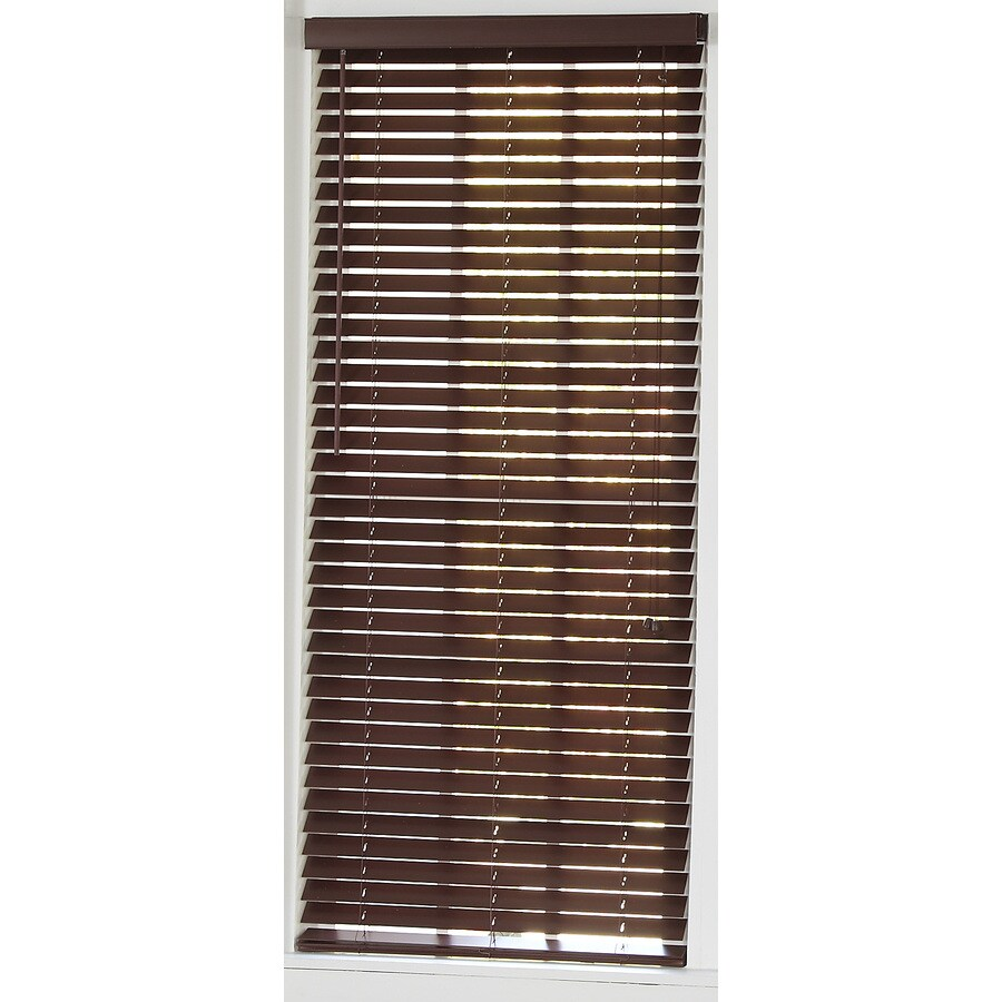 Style Selections 50-in W x 64-in L Mahogany Faux Wood Plantation Blinds