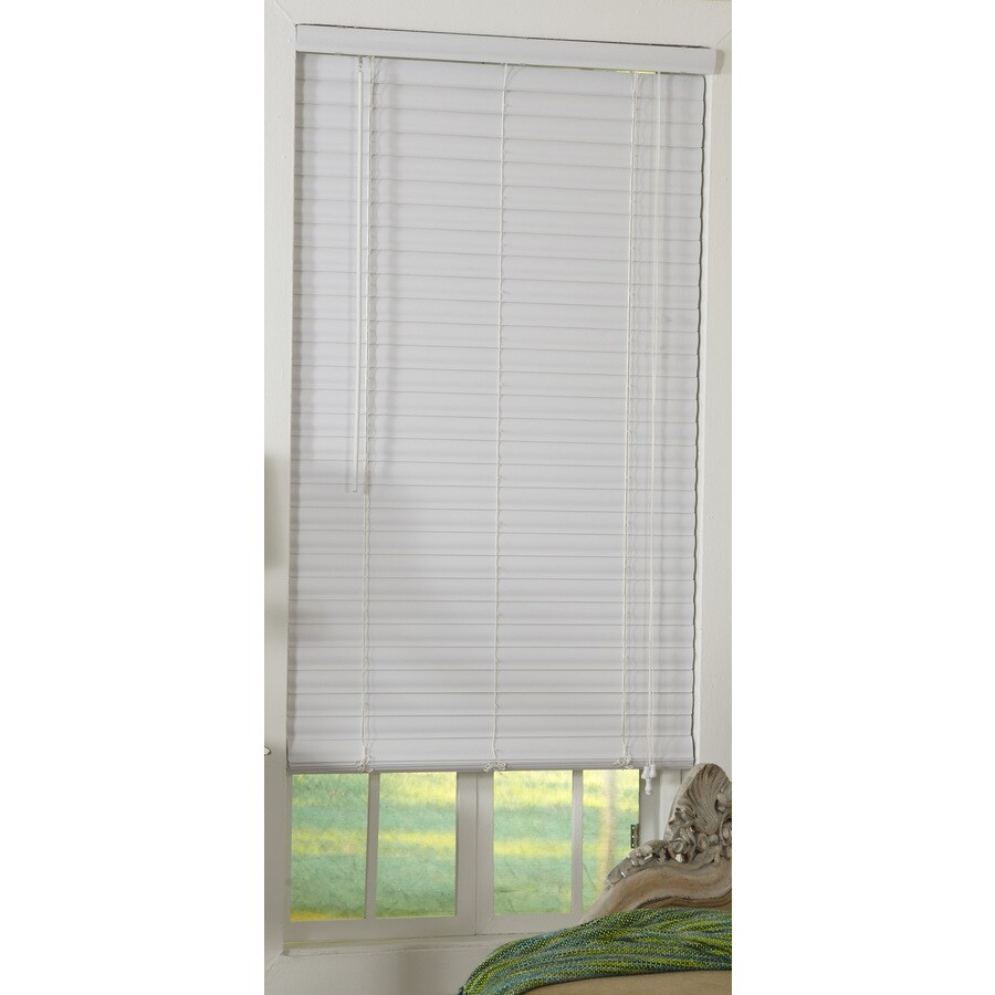 Style Selections 47-in W x 48-in L White Vinyl Horizontal Blinds