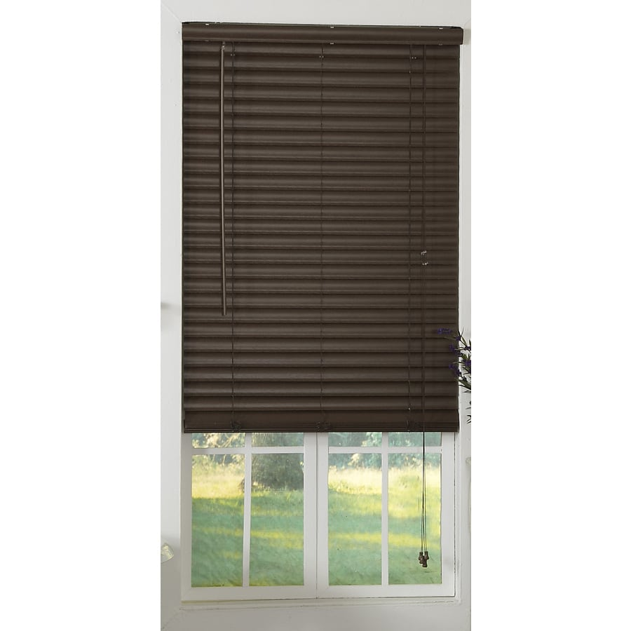 Style Selections 2-in Mocha Vinyl Room Darkening Horizontal Blinds (Actual: 26-in x 64-in)