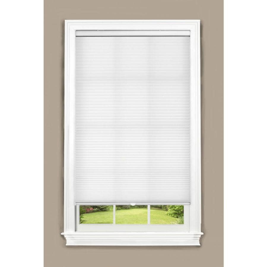 allen + roth 27.5-in W x 64-in L White Cordless Light Filtering Cellular Shade