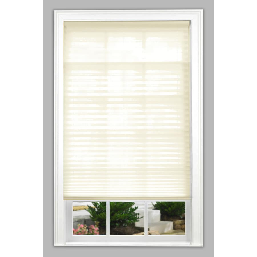 allen + roth 27-in W x 64-in L Ecru Light Filtering Pleated Shade