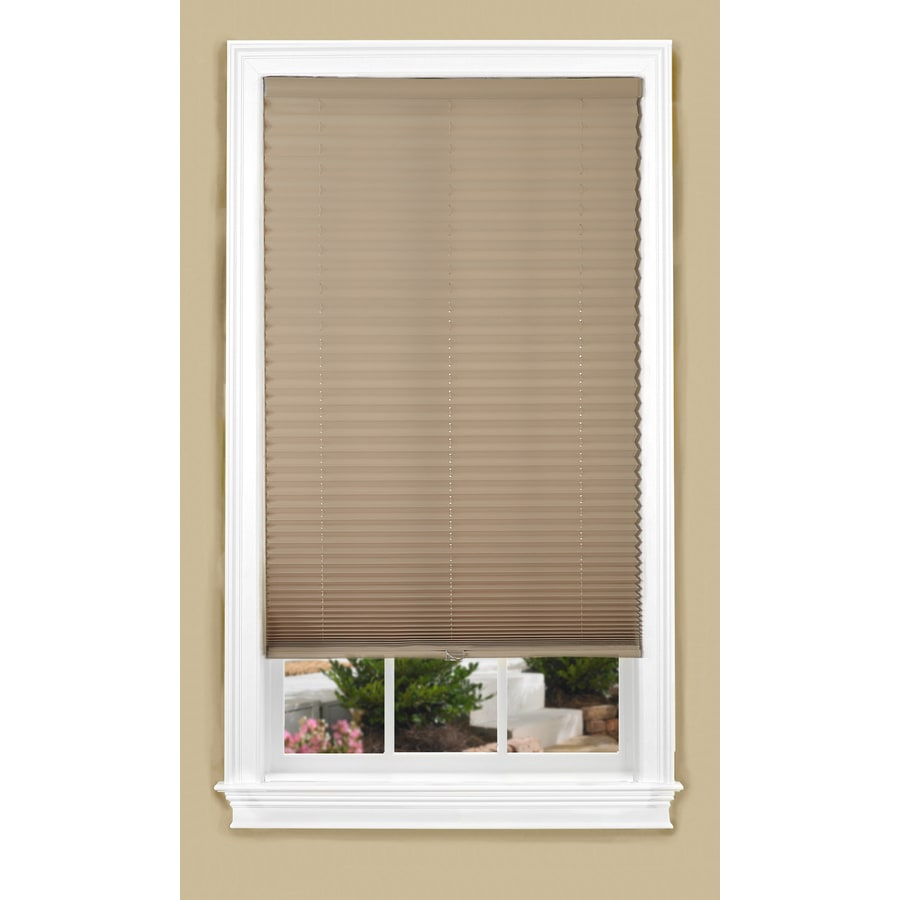 allen + roth 23-in W x 64-in L Camel Light Filtering Pleated Shade