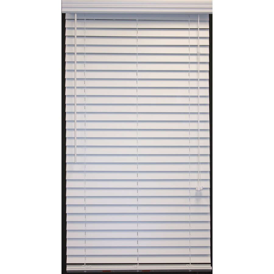 Style Selections 2 In White Faux Wood Room Darkening Plantation Blinds Common 47 Actual 46 5 X 64